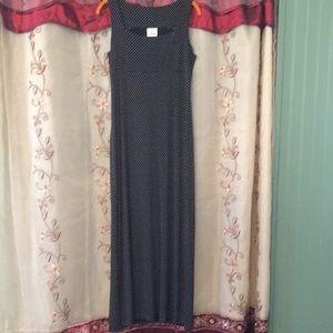 Jalate Black and White Polka Dot Maxi Dress Sz L